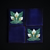 Mexican Tile Coasters (Lilly of the Valley) set of 4 (2 blue, 2 lillies)