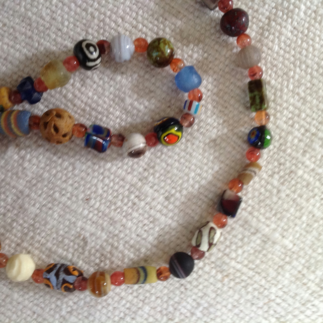 "23.5"" Bead Collection Necklace with antique, vintage and modern beads"