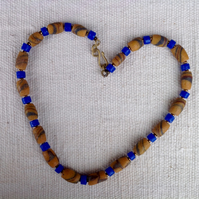 African sand glass bead necklace with blue beads