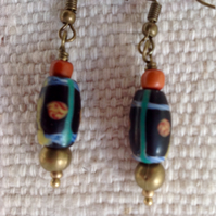 Rare black antique trade bead earrings with brass rounds