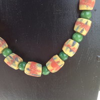 "20"" necklace made with West African recycled glass beads"