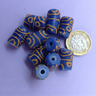10 blue and yellow African tube beads of recycled glass approx 1.75 - 2cm long
