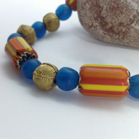 Necklace with vintage chevron trade beads from the Himalayas and African brass