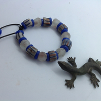 Man's adjustable bead bracelet with new and old African beads, blue and opaque