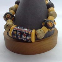 Man's adjustable bracelet with new West African recycled brass and glass beads