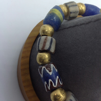 Unusual unisex bracelet with interesting old African beads, 7""