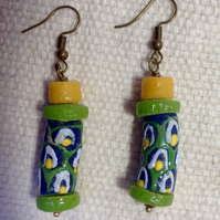 Lime green modern African glass trade beads earrings