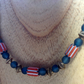"19"" necklace with Himalayan chevron, teal glass and bronze tone beads"