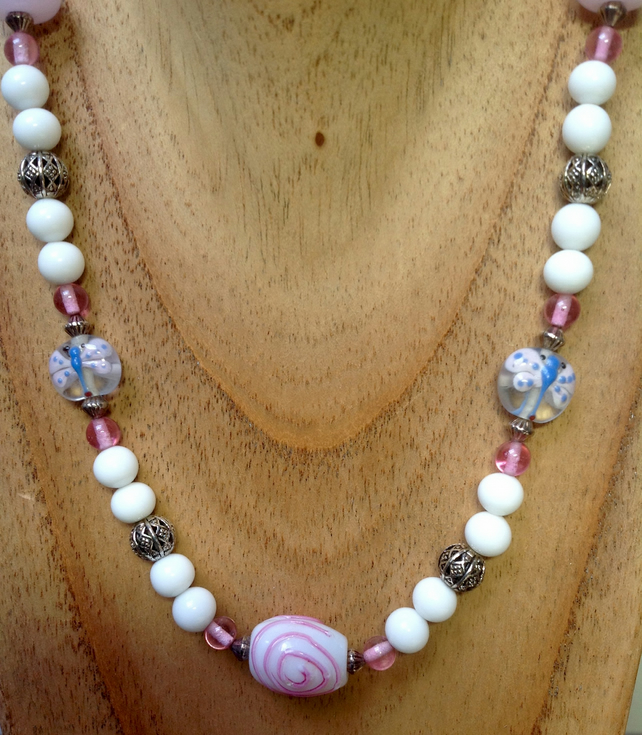 Girls necklace with pink Murano glass vintage beads, butterflies and heart beads