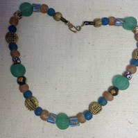 "22"" Ghana bead necklace, beads of recycled glass and brass with handmade clasp"