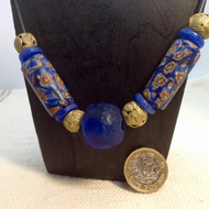 Blue choker necklace with giant trade beads and handmade African brass beads