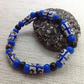 African bead bracelet with blue and white beads