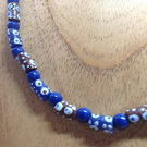 "18.5"" blue necklace made with West African recycled glass beads"