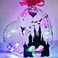 Fantasy light up heart, Castle heart, fairytale light up glass heart. Personalis
