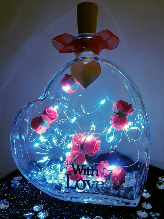 Light up heart, heart with lights, red roses, anniversary, Christmas, love heart