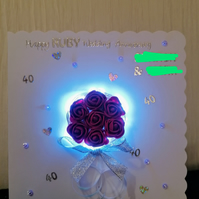 Light up cards, light up anniversary card, bouguet card, special anniversary.