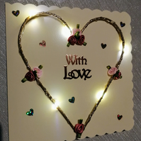 Light up cards, light up heart, card with lights, light up birthday card, heart.