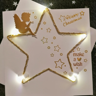 Light up Christmas card, light up star with sitting Angel, personalised cards