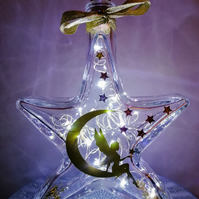 Led light up glass star, glass star with lights, light up memorial gift. Bespoke