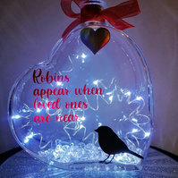 Light up memorial heart, heart with Robin, Robins appear gift.