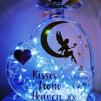 Led light up glass heart, gold and silver edition, fairy on moon, Kisses, Heaven