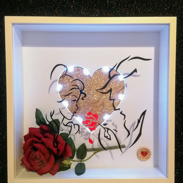 Beauty and the Beast theme gift, 3d box frame Beauty and the Beast, rose gold.