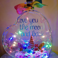 Led light up glass heart, Love you to the Moon and back, Unicorn gift.