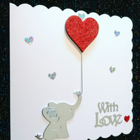3d effect With Love card, baby elephant card, glittered heart card, special card