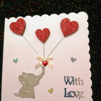 With Love card, baby elephant with three hearts, anniversary cards, bespoke card