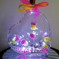 Light up glass heart, gift for her, gift for mum, roses in light up heart.