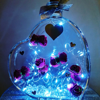 Valentines day gift, light up heart, heart with red roses.