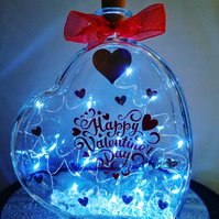 Led light up glass heart, Valentines gift with decal, Happy Valentine's Day gift