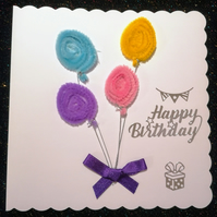 Birthday card with balloons, colourful happy birthday card, personalised cards