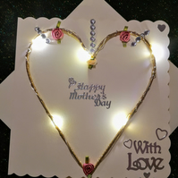 Light up Mother's Day Card, light up heart, light up cards.