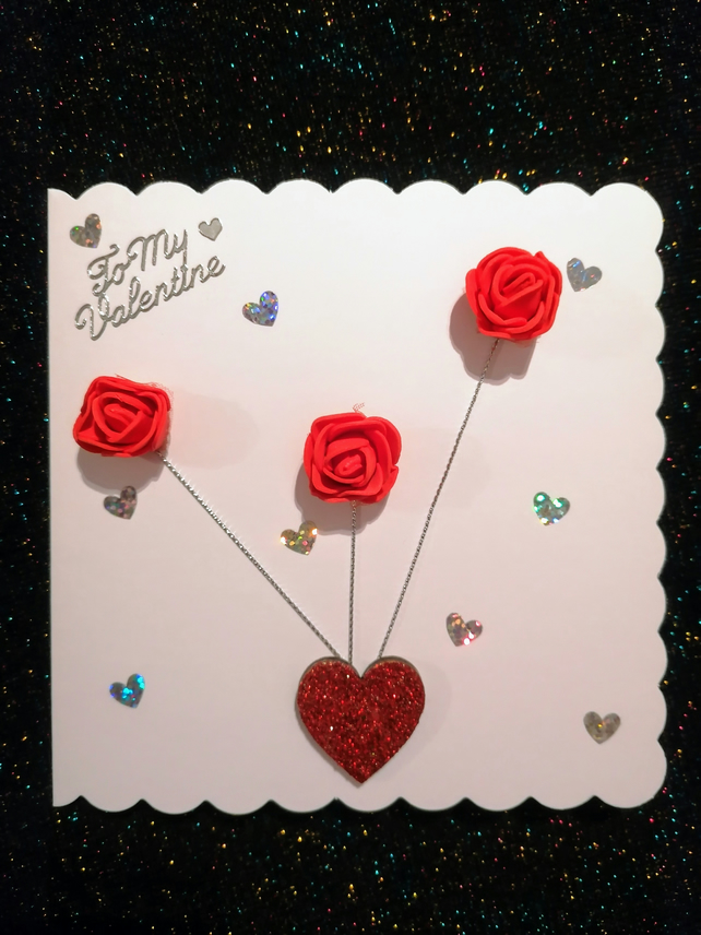 3d Valentine's Day Card, 3 Rose Card, Valentines card for her. Bespoke cards