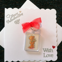 Valentines Day Card with detachable keyring, keyring cards, card with bag tag,