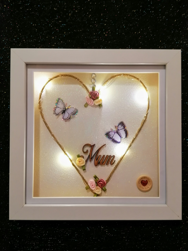 Mother's Day gift, light up heart, Mother's Day heart, light up frame for Mum.