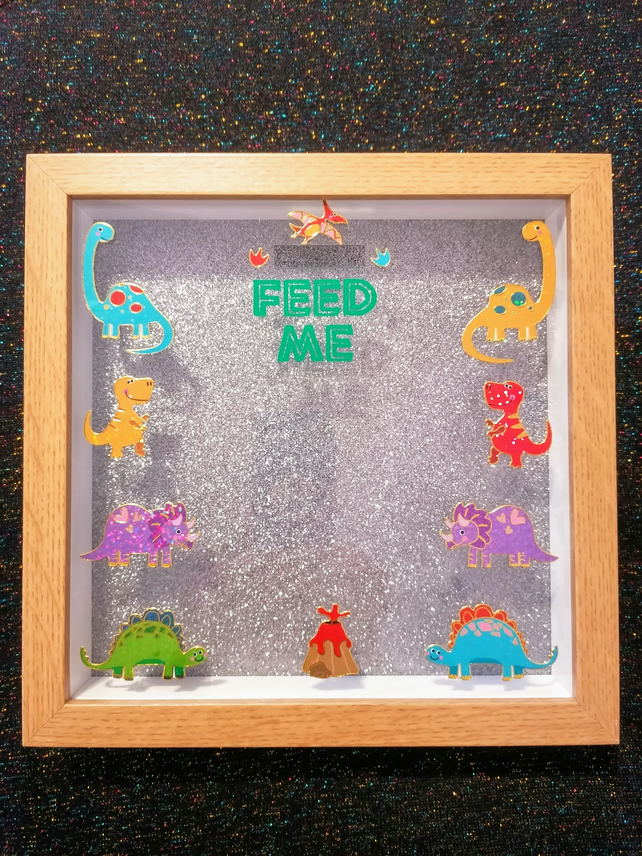 Money box, dinosaur money box frame, children's money box gift.