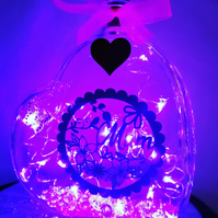 Stunning led light up glass heart, Mother's Day gift, sparkle Mum design.