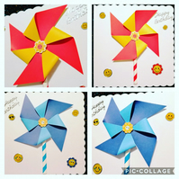 3d Windmill card, a very colourful card with a 3d Rainbow and smiley faces.