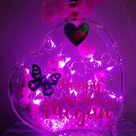 Led light up glass heart gift, personalised heart, happy birthday heart.