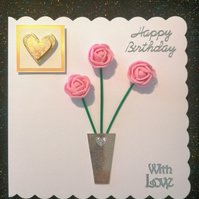 Pretty 3d boxed card, roses in a vase card,  bespoke keepsake cards.