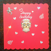 3d card, brightly coloured red card with a skull, Happy Birthday card with skull