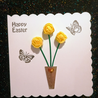 Happy Easter cards, colourful 3d Cards with a vase of  3 roses.