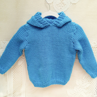 Chunky Blue Hooded Jumper for Babies and Children, Hand Knitted Jumper