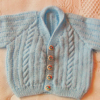 Hand Knitted Cabled Cardigan with a Shawl Collar for a Baby, Baby Shower Gift