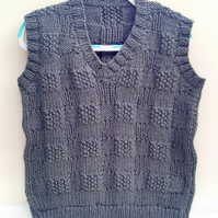 Child's Sleeveless Jumper with Large Basket Weave Pattern, Children's Clothes