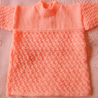 Hand Knitted Long Sleeved Shell Pattern Baby Dress, Gift Ideas for Baby