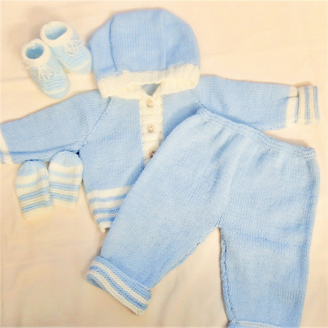 Hooded Pram Set for a Baby Boy or Girl, Baby's Knitted Layette, New Baby Gift