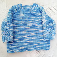 Knitted Cotton Jumper with Neck and Sleeves Detail Pattern, Baby Shower Gift